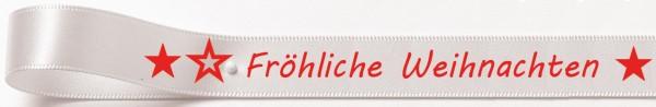 Weihnachtssatinband: 15mm breit / 25m-Rolle Fröhliche Weihnachten weiss mit roter Schrift