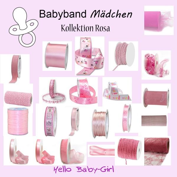 Babyband Mädchen - Kollektion Rosa - Bänder und Kordeln rund um das Thema Geburtstag und Taufe