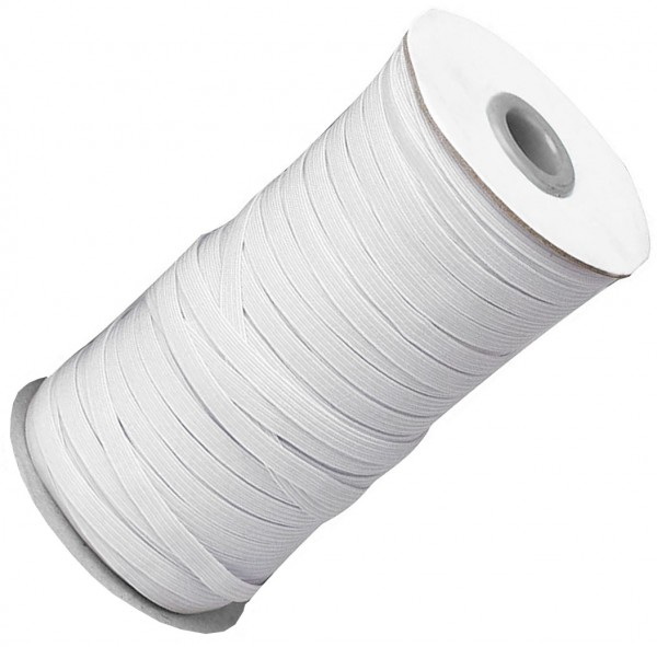 Gummiband 5mm breit / 25m-Rolle, weiss, 62% Polyester + 38% Latex