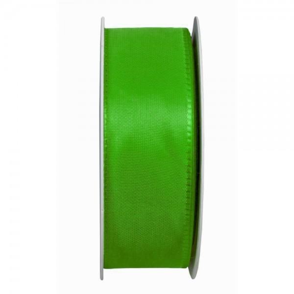 Taftband, apfelgrün: 40mm breit / 50m-Rolle, mit feiner Webkante.