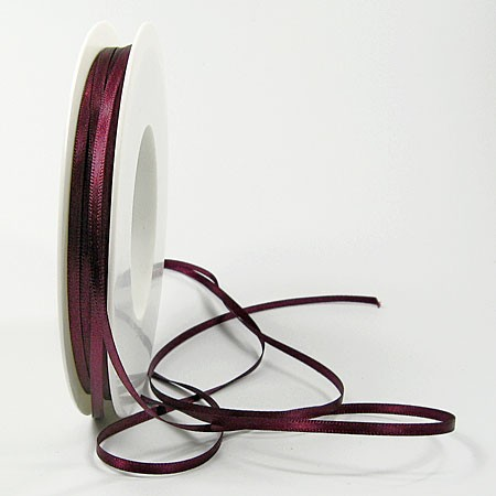 Satinband-SINFINITY, aubergine: 3mm breit / 50m-Rolle, mit feiner Webkante