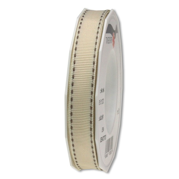 Ripsband-STITCHES, 15mm breit / 15m-Rolle, creme-taupe