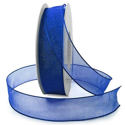 Organzaband mit Drahtkante, 25mm breit / 25m-Rolle, royalblau.
