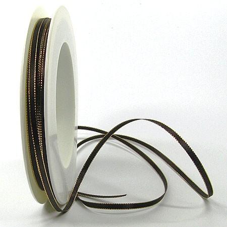 Satinband SINFINITY, dunkelbraun-gold: 3mm breit / 50m-Rolle, mit feiner Webkante.
