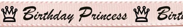 "Satinband ""Birthday princess"", hellrosa: 15mm breit / 25m-Rolle"