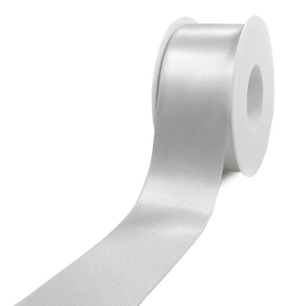 Satinband-SINFINITY, weiss: 50mm breit / 25m-Rolle, mit feiner Webkante