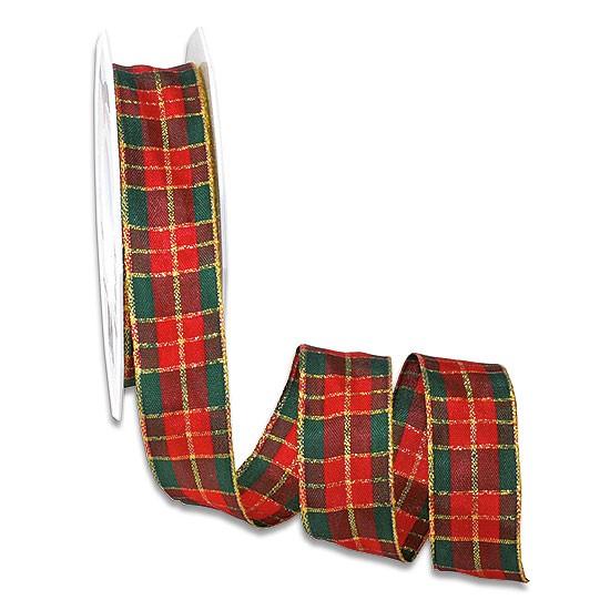 Weihnachtsband - GLASGOW: 25mm breit / 25m-Rolle, rot-grün-gold