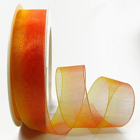 RAINBOW-Organzaband: 25mm breit / 25m-Rolle, gelb-orange.