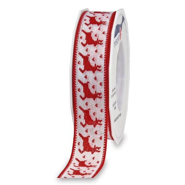 Dekorband-RENTIERE: 25mm breit / 15m-Rolle, mit Drahtkante, rot-weiß