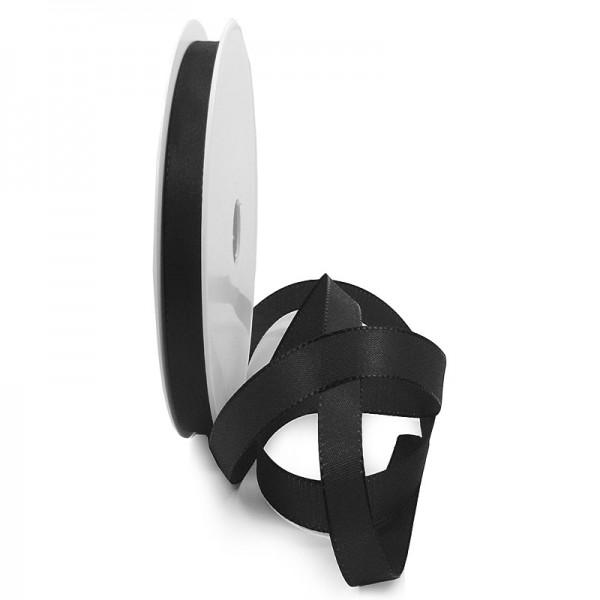 Taftband, schwarz: 10mm breit / 50-Rolle, mit feiner Webkante