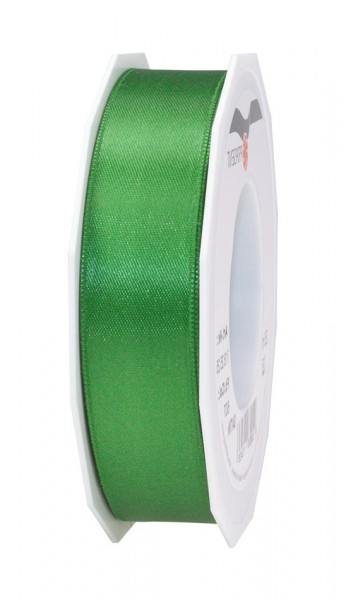 Satinband-PRÄSENT, jagdgrün: 25mm breit / 25m-Rolle, mit feiner Webkante.