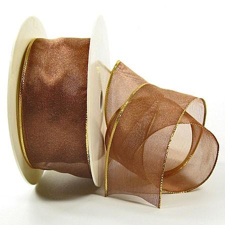 Organzaband-Magic: Lindgrün-Gold, 25m-Rolle - 40mm breit