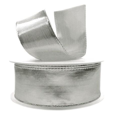 Silberband Glory, 38mm breit / 25m-Rolle, mit Drahtkante