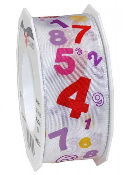 Geburtstagsband: ZAHLEN-NUMBERS, 40mm breit / 20m-Rolle - rosa