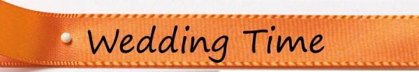 """Hochzeitsband """" Wedding Time"""" 15mm breit/25m Rolle orange"""