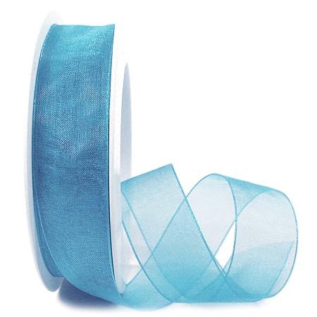Organzaband, hellblau: 25mm breit / 25m-Rolle