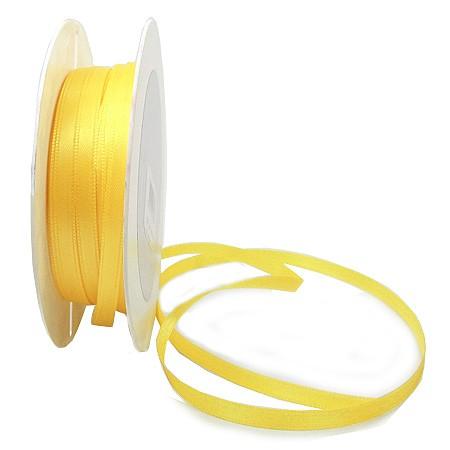 Satinband SINFINITY, hellgelb: 6mm breit / 50m-Rolle, mit feiner Webkante.