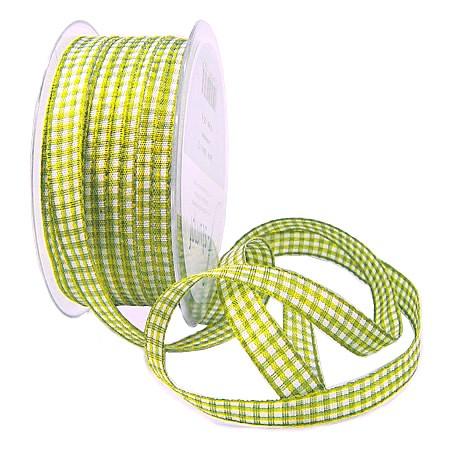 Landhauskaro, hellgrün-weiss: 10mm breit / 25m-Rolle