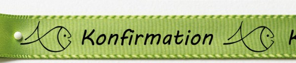Konfirmationsband, lindgrün: 15mm breit / 25m-Rolle