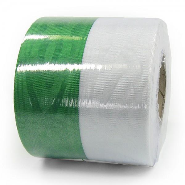 Vereinsband Schützenband, grün-weiss, 75mm breit / 25m-Rolle, mit Moiré-Struktur.