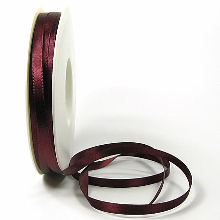 Satinband-SINFINITY, bordeaux: 6mm breit / 50m-Rolle, mit feiner Webkante