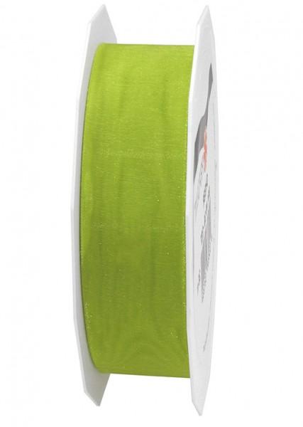 Organzaband-Sheer: 25mm breit / 25m-Rolle, lindgrün.