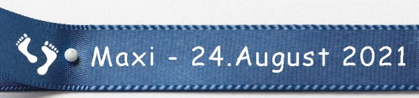 Babyband individuell bedruckt.: 15mm breit - 5m-Länge: royalblau