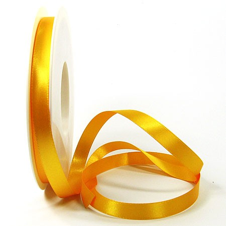 Satinband SINFINITY, gelb: 10mm breit / 25m-Rolle, mit feiner Webkante.