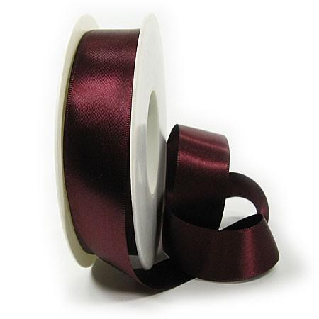 Satinband-SINFINITY, bordeaux: 25mm breit / 25m-Rolle, mit feiner Webkante