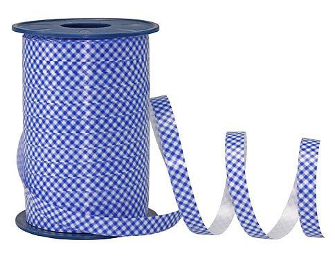 PolyKaro-Ringelband, blau-weiß - 10mm breit / 200m-Rolle