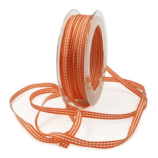 Landhaus-Karoband, orange-weiss: 6mm breit / 25m-Rolle
