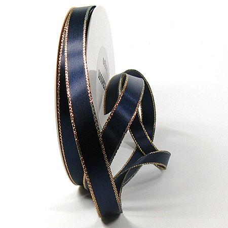 Satinband-VEGAS, mit Lurex-Goldkante: 15mm breit / 50m-Rolle, dunkelblau-gold
