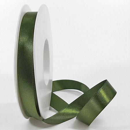 Satinband SINFINITY, moosgrün: 15mm breit / 25m-Rolle, mit feiner Webkante.