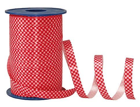 Poly-Karo-Ringelband, rot-weiß - 10mm breit / 200m-Rolle