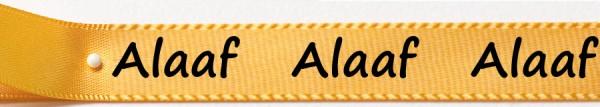 Karnevals-Satinband Alaaf: 15mm breit / 25m-Rolle: gelb mit schwarzer Schrift