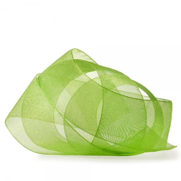 Organzaband-CHIFFON, lindgrün: 40mm breit / 50m-Rolle, mit feiner Webkante.