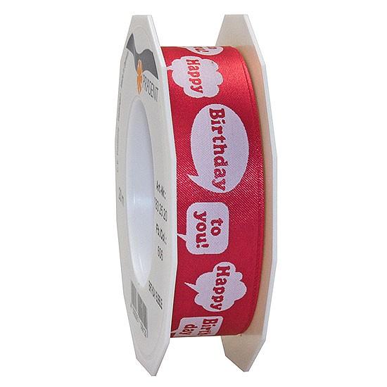 Geburtstagsband: BIRTHDAY BUBBLE, 25mm breit / 20m-Rolle, rot