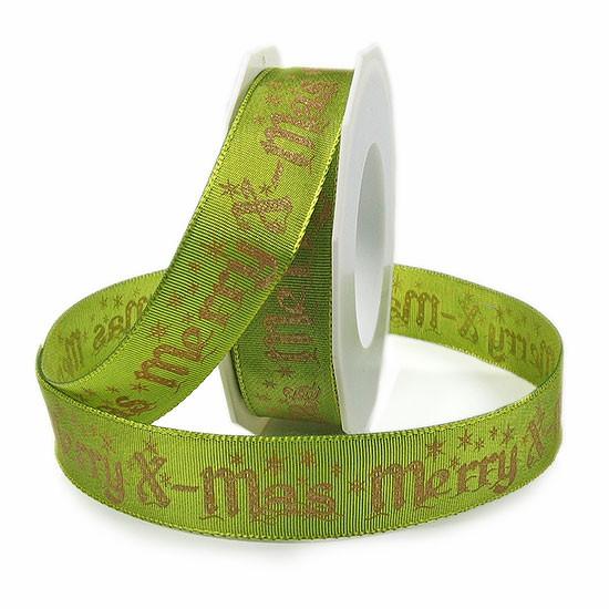 "Weihnachtsband ""Merry X-mas"": 25mm breit / 20m-Rolle, lindgrün-gold"