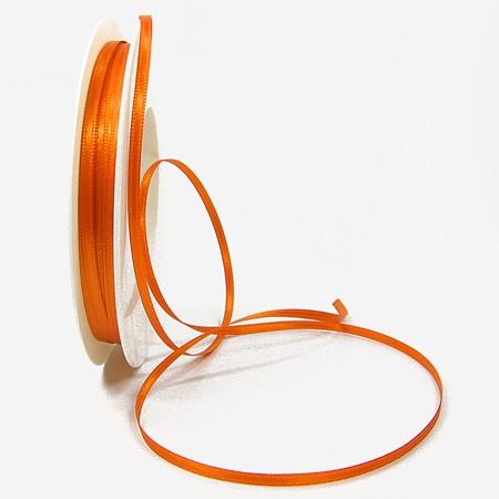 Satinband SINFINITY, orange: 3mm breit / 50m-Rolle, mit feiner Webkante.