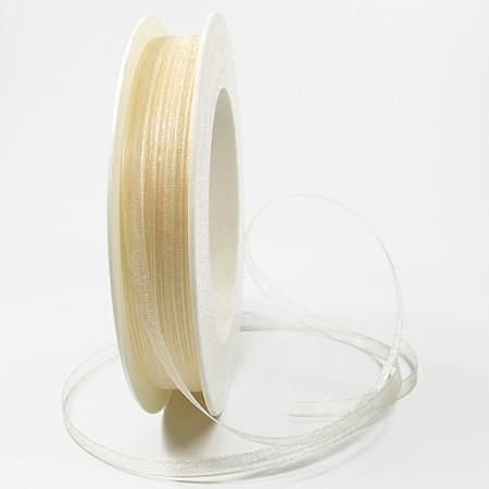Organzaband: 5mm breit / 50m-Rolle, creme