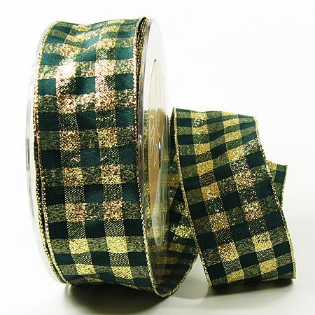 Karoband, grün-gold: 38mm breit / 25m-Rolle, mit Drahtkante