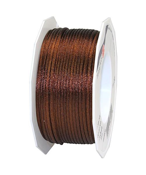 Satinkordel-RHEIN, braun: 3 mm breit - 50-Meter-Rolle