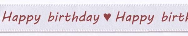 Satinband-HAPPY BIRTHDAY-weinrote Schrift: 15mm breit / 25m-Rolle, weiß