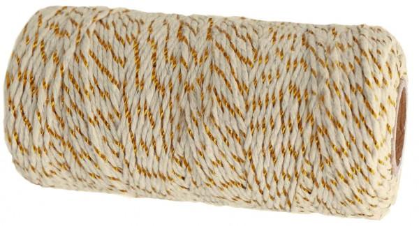 Bäckergarn, creme-gold: 1,5mm breit / 100m-Rolle.