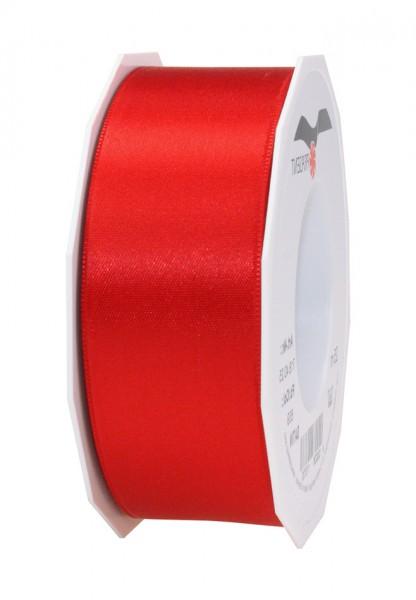 Satinband-PRÄSENT, rot: 40mm breit / 25m-Rolle, mit feiner Webkante.
