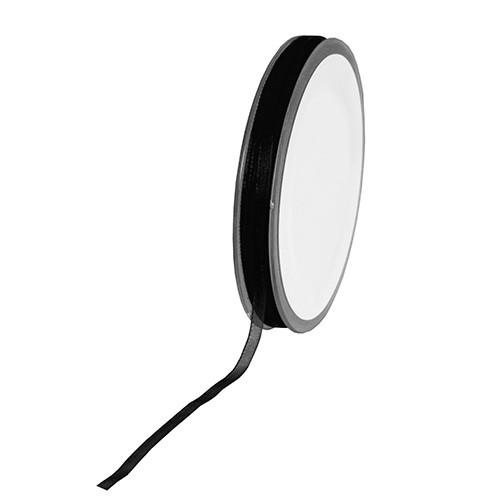 Organzaband: 3mm breit / 50m-Rolle, schwarz