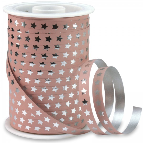 Polyband: CHRISTMAS-STAR: 10mm/100m-Rolle, altrosa