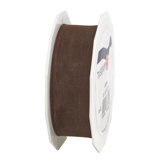 Organzaband-Sheer, dunkelbraun: 25mm breit / 25m-Rolle