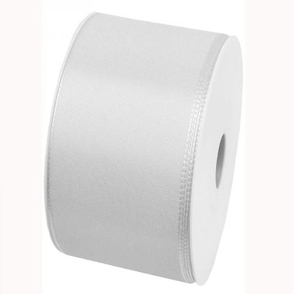 Taftband, weiss: 60mm breit / 50m-Rolle, mit feiner Webkante