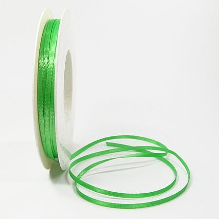 Satinband-SINFINITY, apfelgrün: 3mm breit / 50m-Rolle, mit feiner Webkante